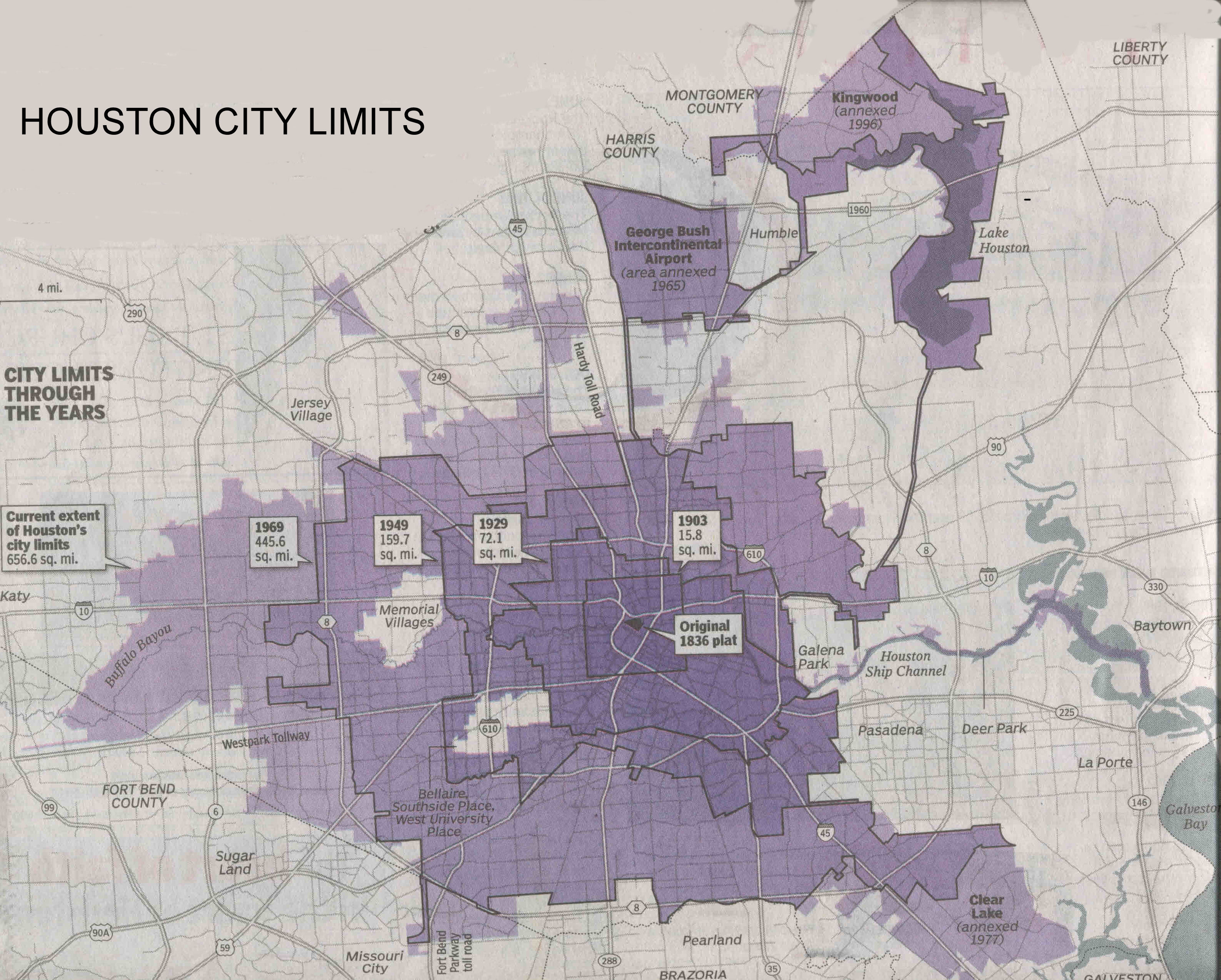 Map Of Houston City Limits  Indiana Map