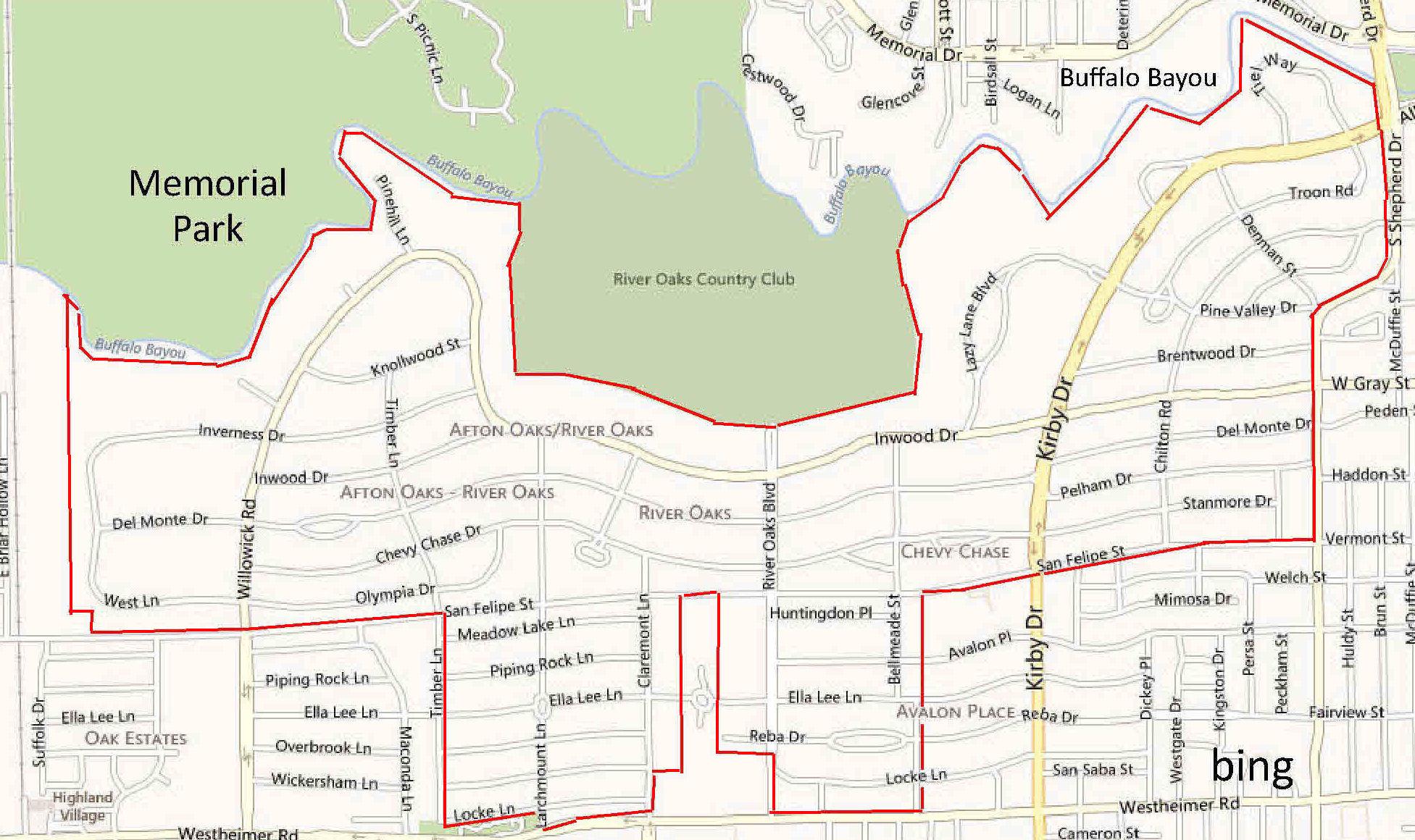 Houston Map River Oaks