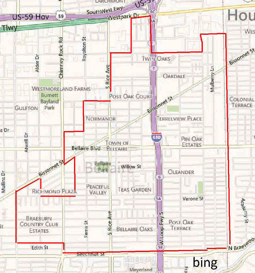 Bellaire Inner Loop Realtor Bill Edge - Map of teas
