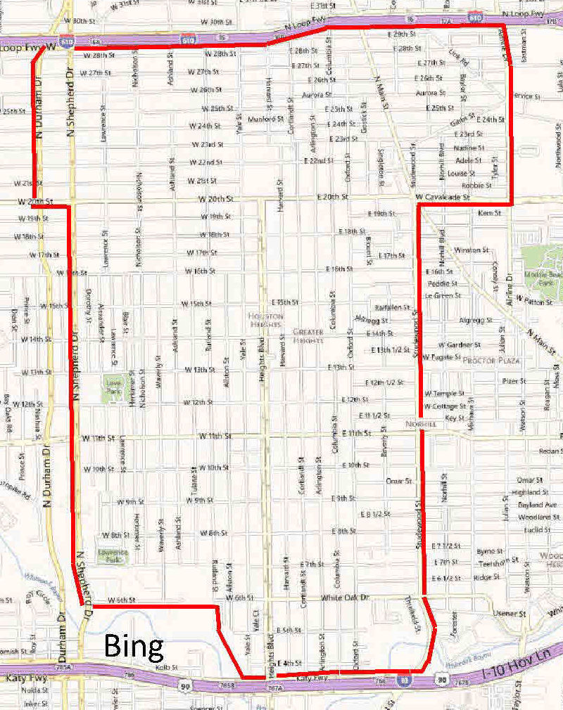 Houston Heights Map  Indiana Map