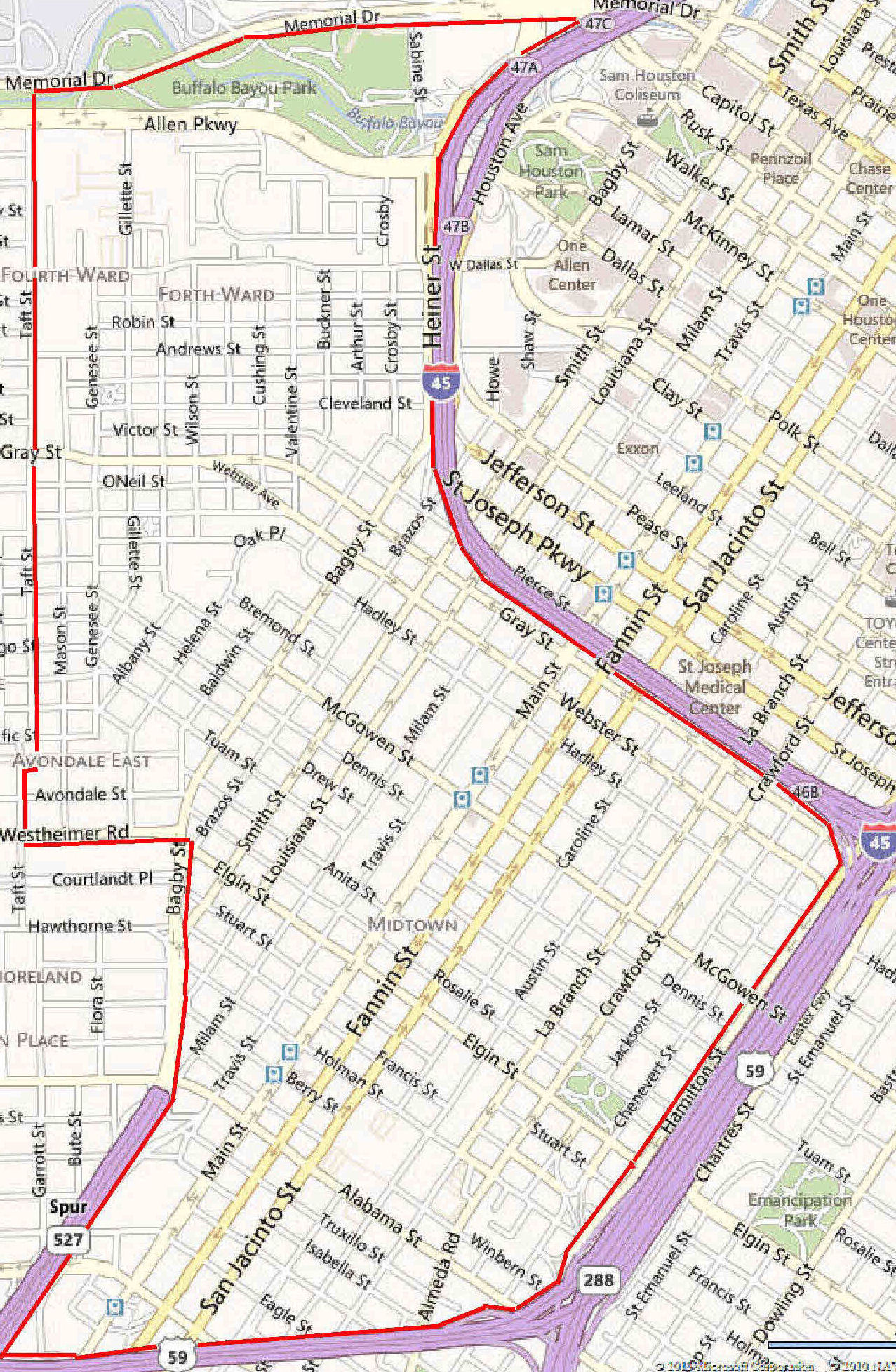 Map Of Midtown Houston  Indiana Map